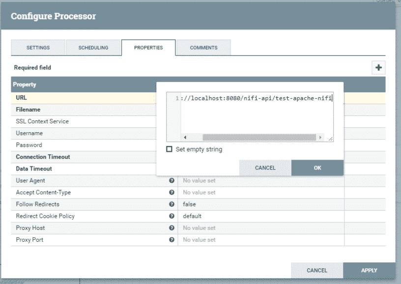 Configuration du processeur 1 - Apache NiFi