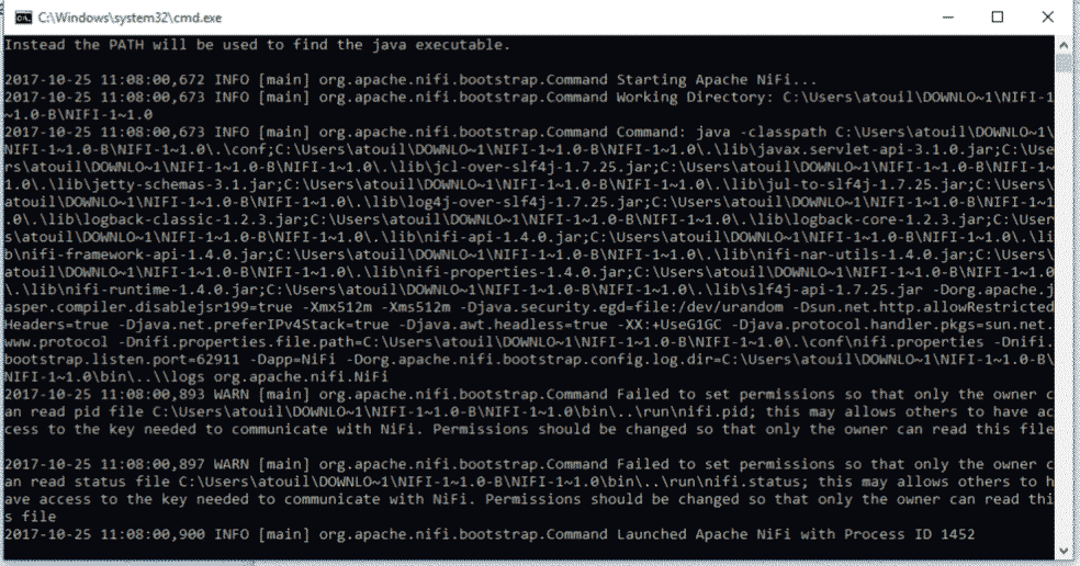 Demarrage Apache NiFi