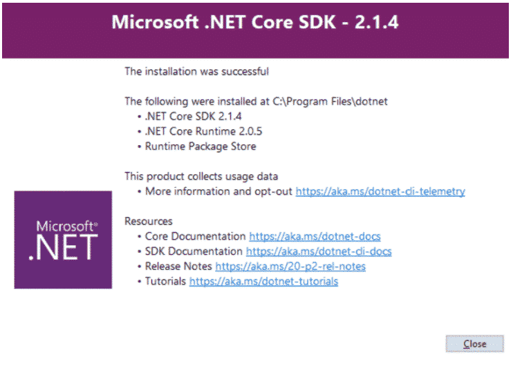 .Net Core // Fenêtre d'installation du SDK .Net Core sous Windows