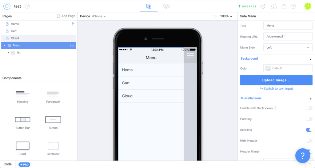 Framework IONIC // Screenshot de IONIC CREATOR