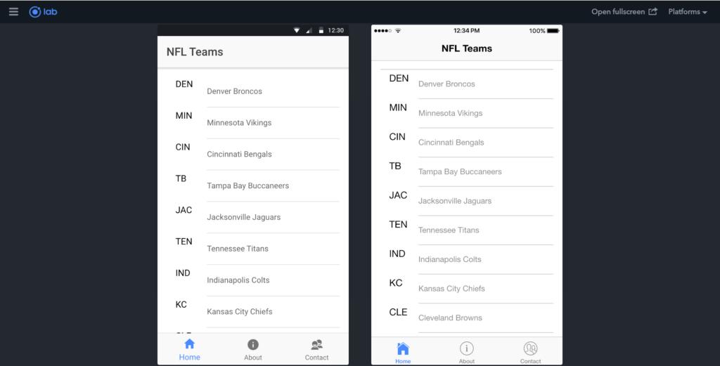Framework IONIC / Screenshot de l'interface