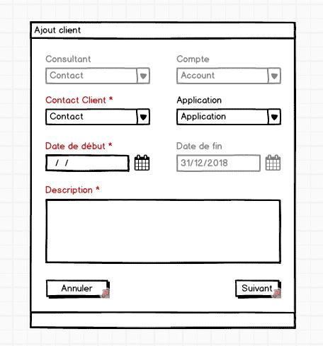 UI/UX // Exemple de wireframe d'une interface d'ajout client